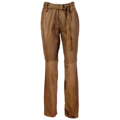 Vintage Brown Leather Biker Trousers Phorms Milano 1980s