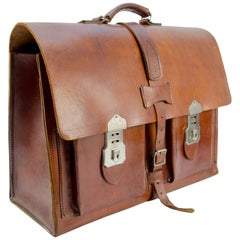 Vintage Brown Leather Briefcase Bag with Cheney Locks