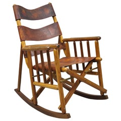 Vintage Brown Leather Campaign Style COSTA Rican Folding Rocking Chair Rocker