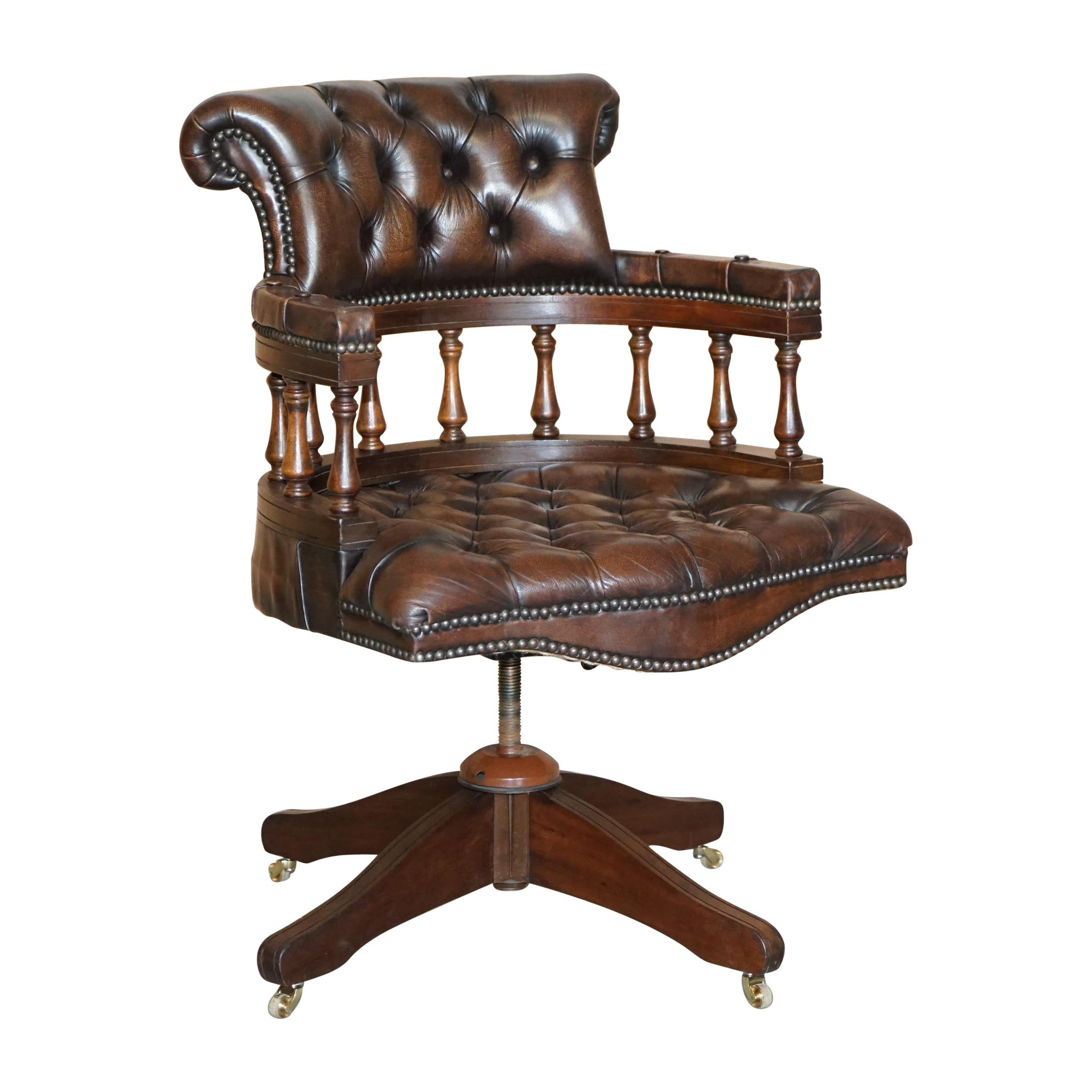 Vintage Brown Leather Chesterfield Captains Directors Chair with Coil Base