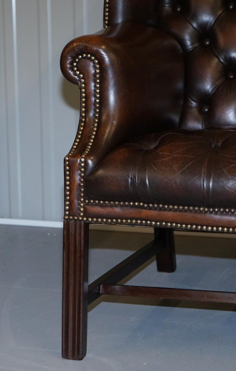 Vintage Brown Leather Chesterfield Fully Tufted Wingback Two Seat Sofa Armchair For Sale 5