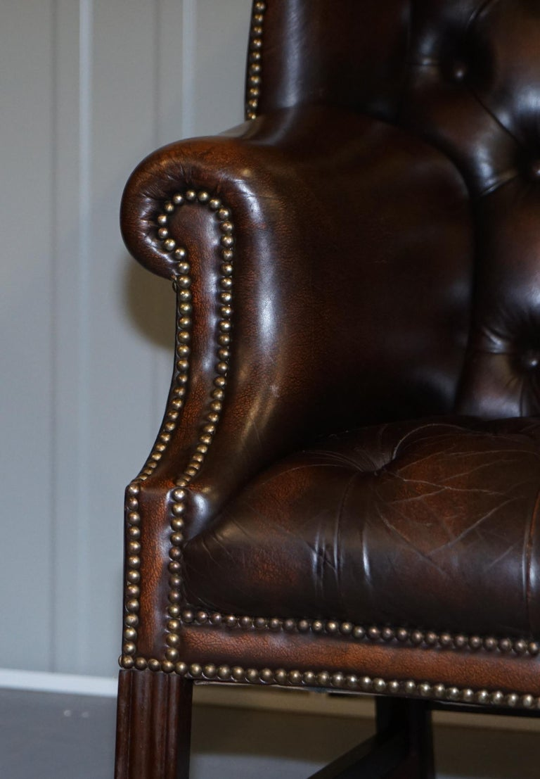 Vintage Brown Leather Chesterfield Fully Tufted Wingback Two Seat Sofa Armchair For Sale 6