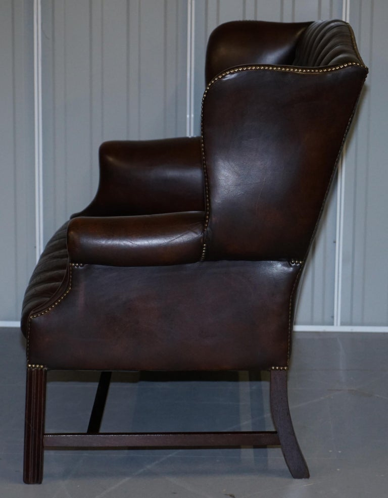 Vintage Brown Leather Chesterfield Fully Tufted Wingback Two Seat Sofa Armchair For Sale 12