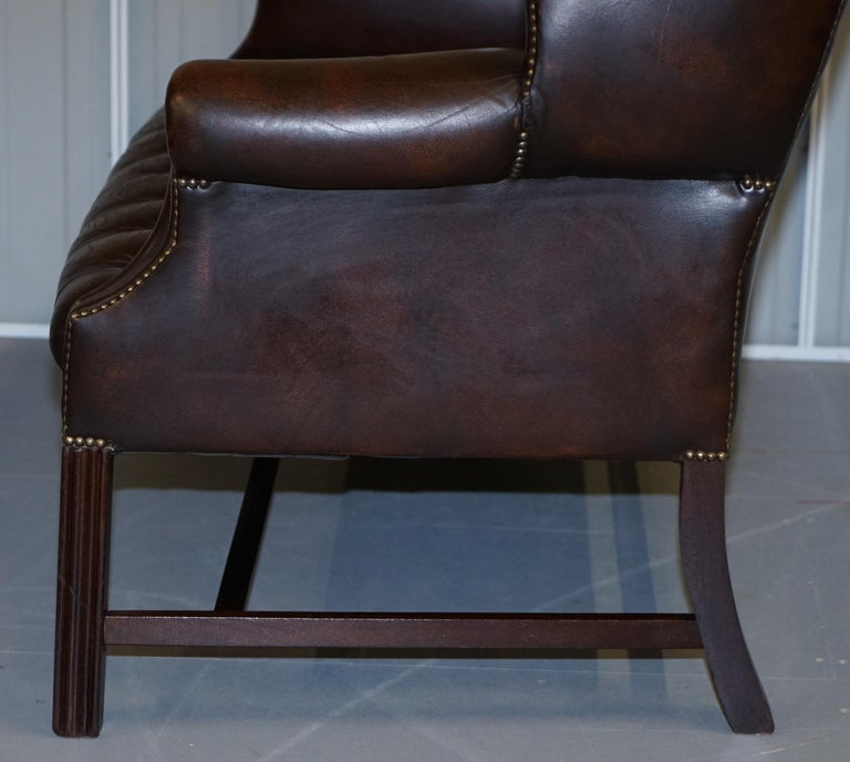 Vintage Brown Leather Chesterfield Fully Tufted Wingback Two Seat Sofa Armchair For Sale 13