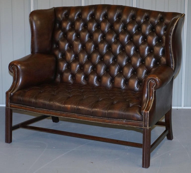 English Vintage Brown Leather Chesterfield Fully Tufted Wingback Two Seat Sofa Armchair For Sale