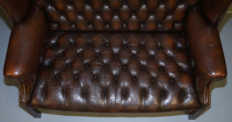 Vintage Brown Leather Chesterfield Fully Tufted Wingback Two Seat Sofa Armchair For Sale 2