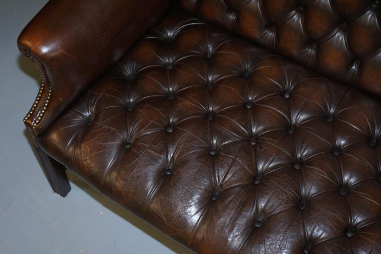 Vintage Brown Leather Chesterfield Fully Tufted Wingback Two Seat Sofa Armchair For Sale 3