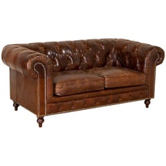 Vintage Brown Leather Chesterfield Love Seat Small Sofa from England