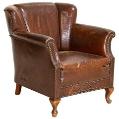 Vintage Brown Leather Club Chair from England
