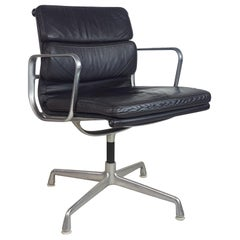 Vintage Brown Leather Eames for Herman Miller Soft Pad Aluminium Group Chair