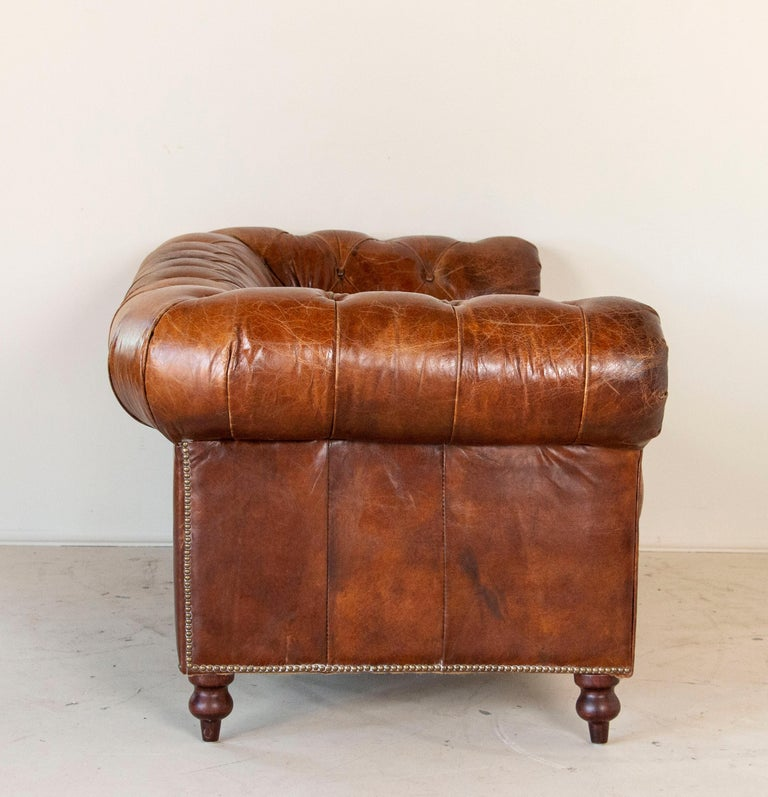Vintage Brown Leather English Chesterfield Sofa 1