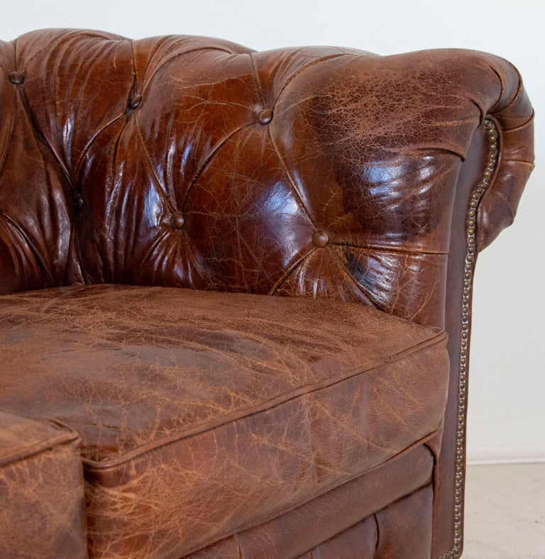 Vintage Brown Leather English Chesterfield Sofa 2