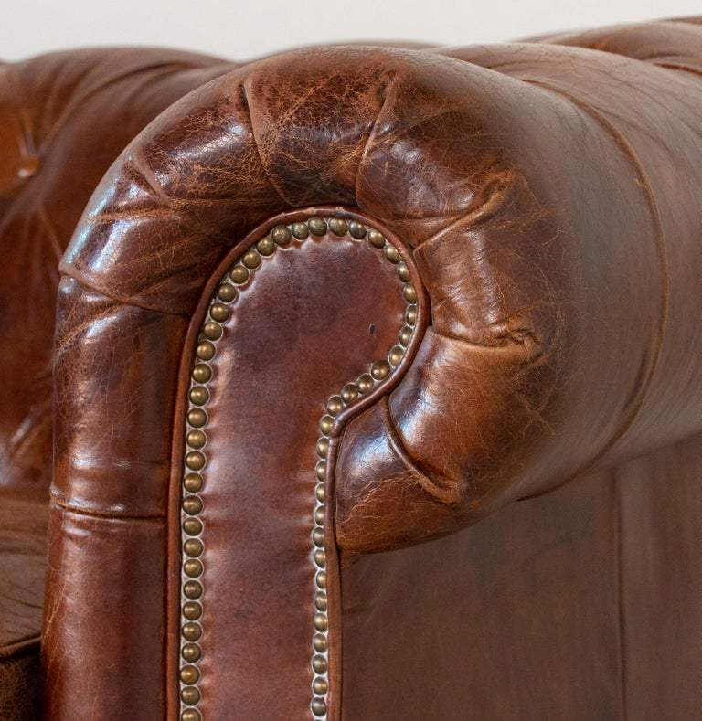 Vintage Brown Leather English Chesterfield Sofa 3