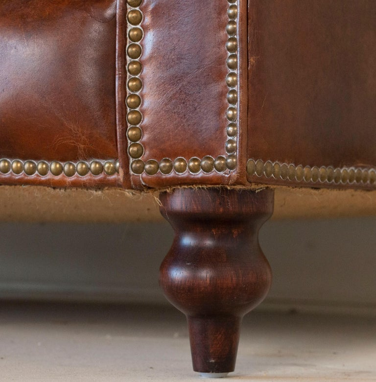 Vintage Brown Leather English Chesterfield Sofa 4