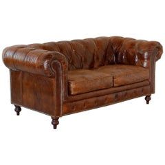 Vintage Brown Leather English Chesterfield Sofa