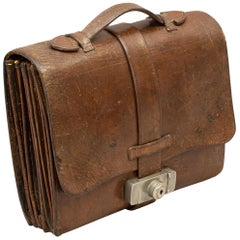Vintage Brown Leather Expandable Briefcase, Document Case