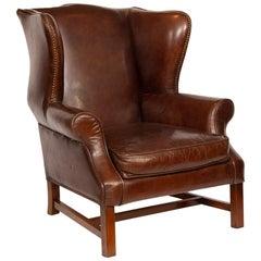 Vintage Brown Leather Hide Wing Chair