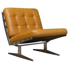 Vintage Brown Leather Lounge Chair Caravalle by Paul Leidersdorff, Denmark, 1965