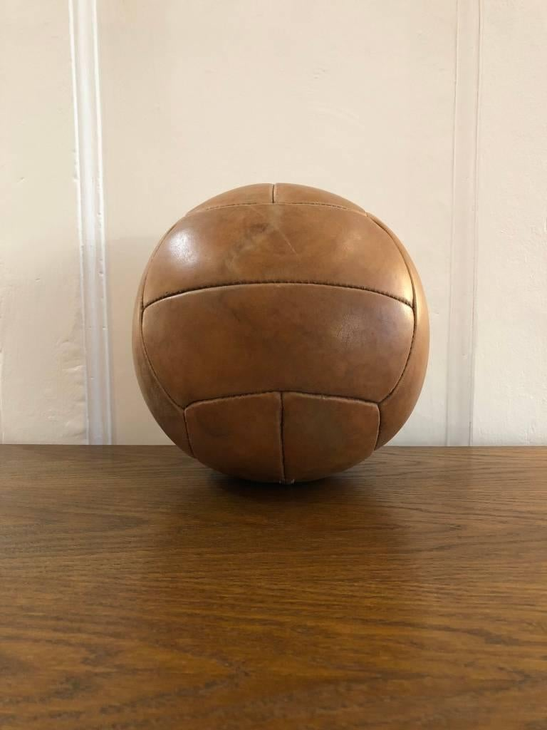 Mid-Century Modern Vintage Brown Leather Medicine Ball, 1940s For Sale