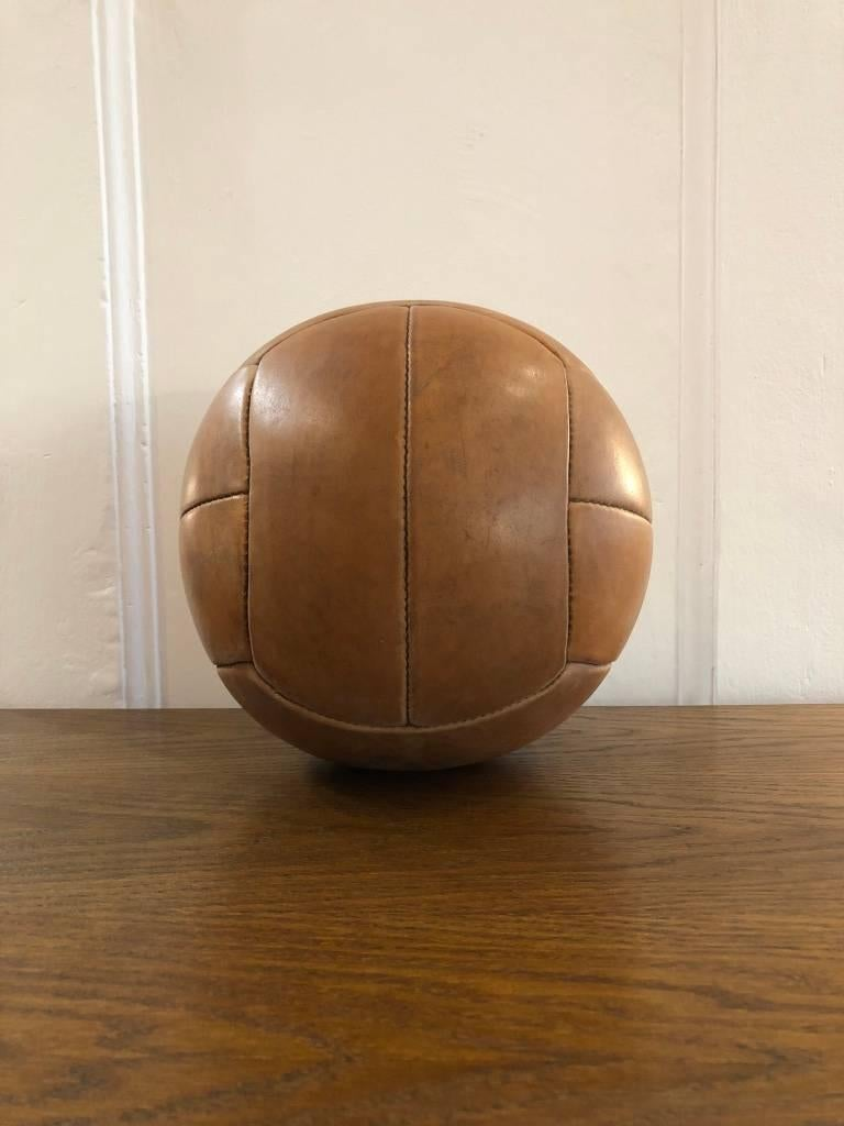 Czech Vintage Brown Leather Medicine Ball, 1940s For Sale