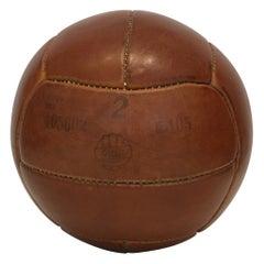 Vintage Brown Leather Medicine Ball, 2kg, 1930s