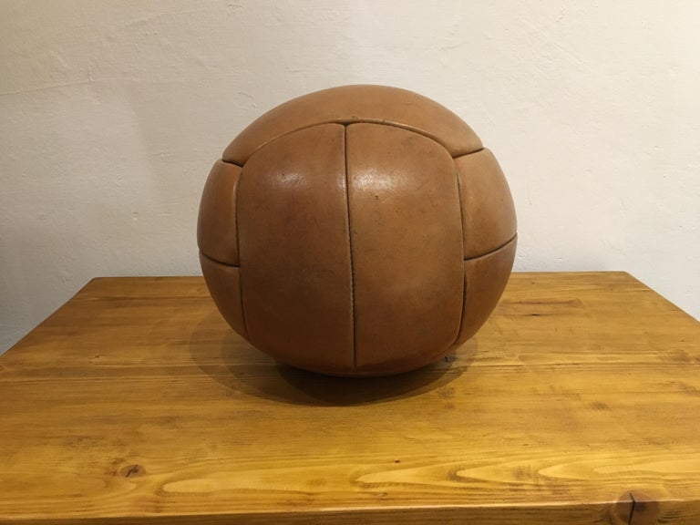 Czech Vintage Brown Leather Medicine Ball, 3kg, 1930s For Sale