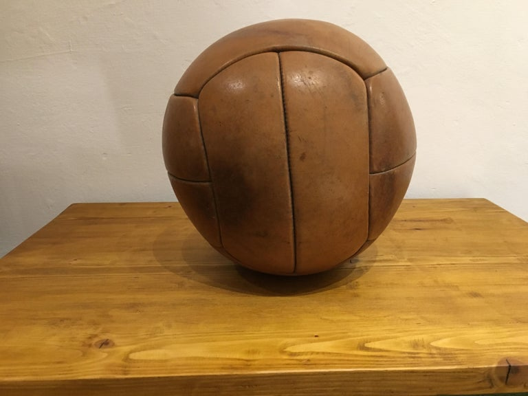 20th Century Vintage Brown Leather Medicine Ball, 3kg, 1930s For Sale