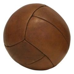 Vintage Brown Leather Medicine Ball, 3kg, 1930s