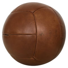 Vintage Brown Leather Medicine Ball, 5kg, 1930s