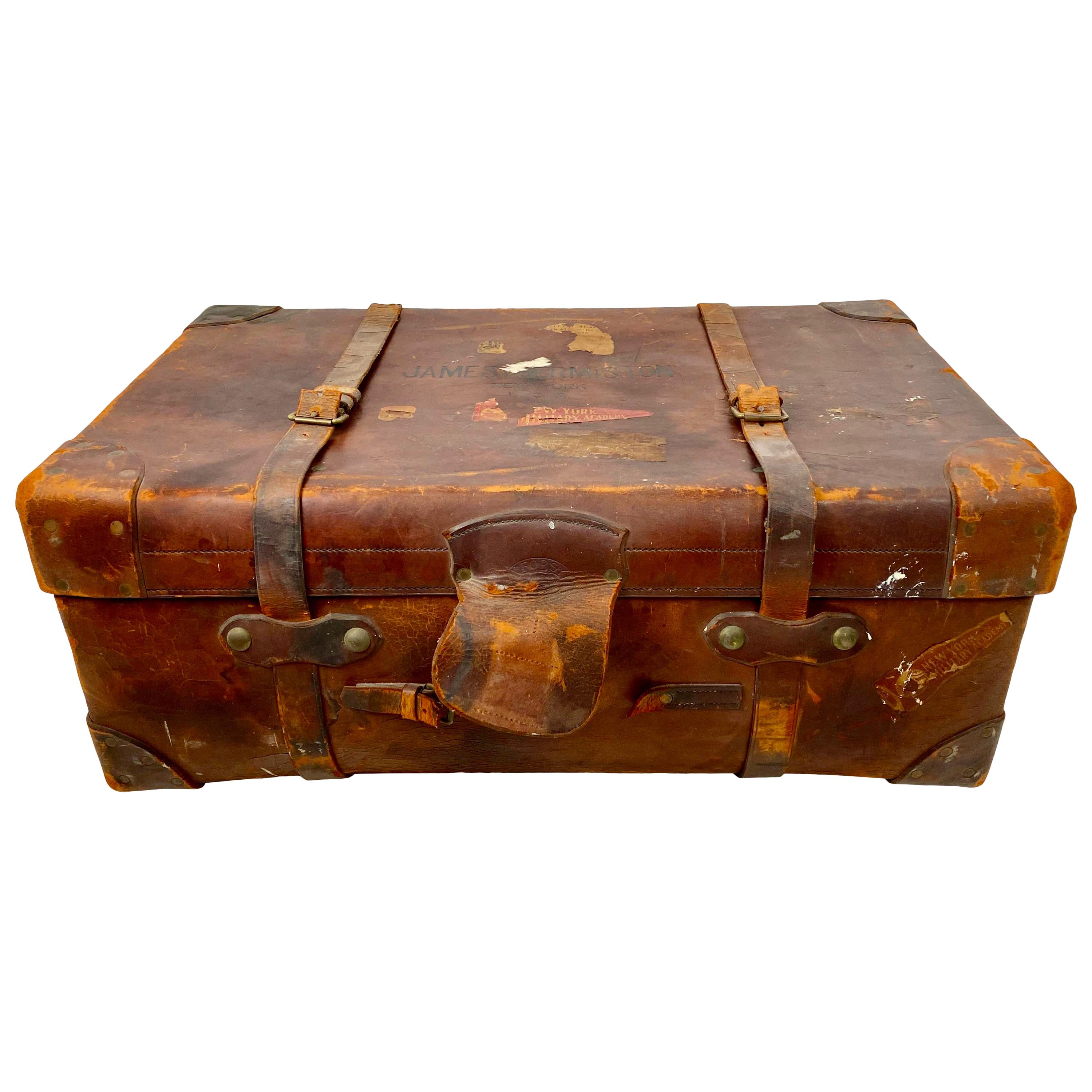 Vintage Brown Leather Military Travel Trunk by R.W. Forsyth