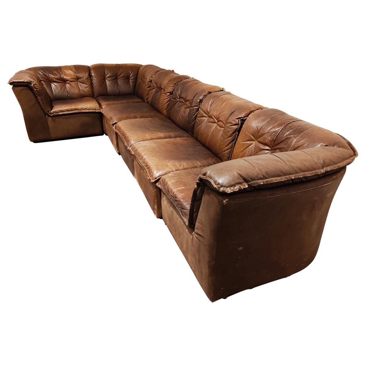 Vintage Brown Leather Modular Sofa, 1960s
