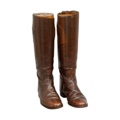 Vintage Brown Leather Riding Boots