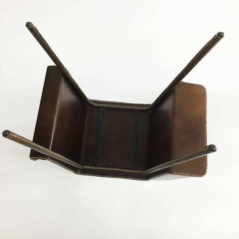 20th Century Vintage Brown Leather Stitched Magazine Rack, 1960s, France For Sale