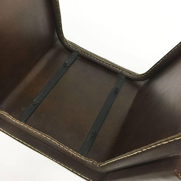 Vintage Brown Leather Stitched Magazine Rack, 1960s, France For Sale 2