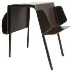 Vintage Brown Leather Stitched Magazine Rack, 1960s, France