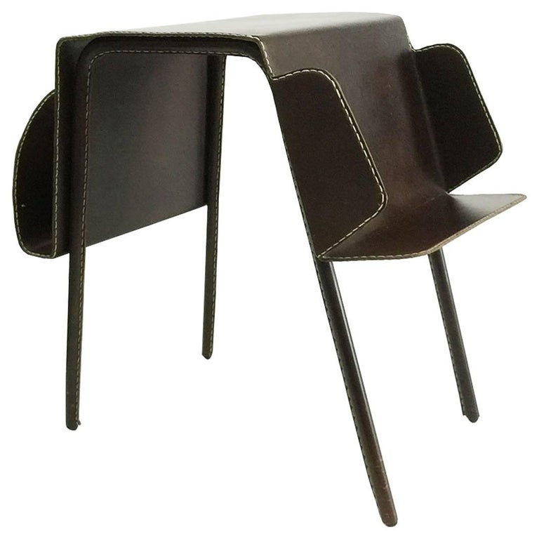 Vintage Brown Leather Stitched Magazine Rack, 1960s, France For Sale
