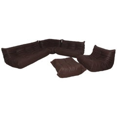Vintage Brown Leather Togo Sofa Set by Michel Ducaroy for Ligne Roset