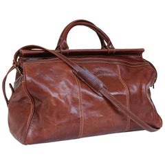 Vintage Brown Leather Travel Bag with Shoulder Strap,  Florence, Italy