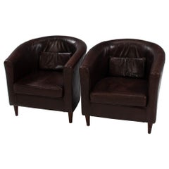 Vintage Brown Leather Tub Chairs, Set of 2