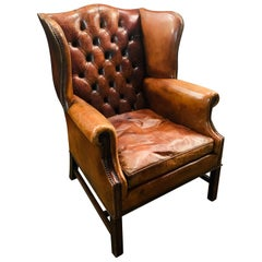 Vintage Brown Leather Tufted Chesterfield Wingback Armchair Original, circa 1880