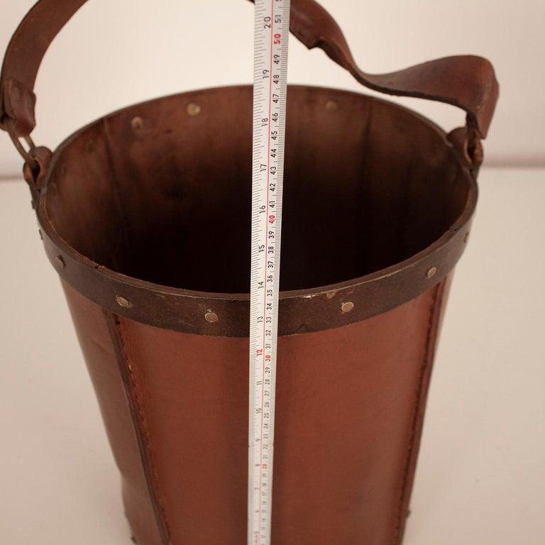 Vintage Brown Leather Waste Basket, Valenti, Spain, 1970s For Sale 4