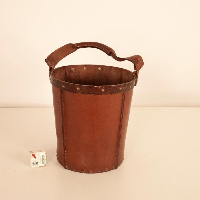 Vintage Brown Leather Waste Basket, Valenti, Spain, 1970s For Sale 6