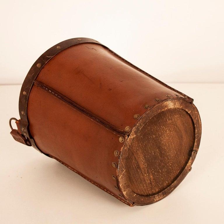 Vintage Brown Leather Waste Basket, Valenti, Spain, 1970s For Sale 7