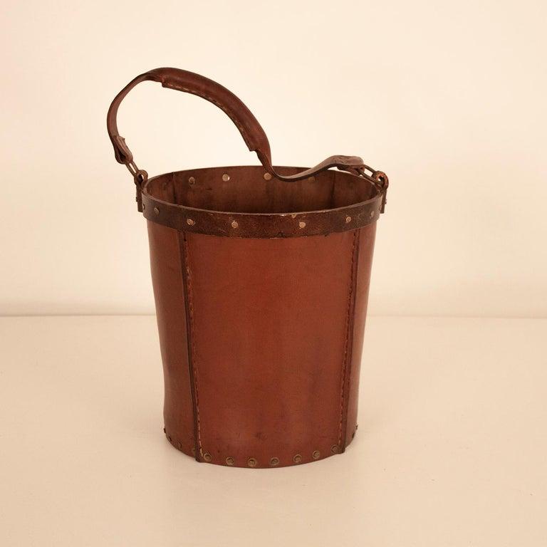 Spanish Vintage Brown Leather Waste Basket, Valenti, Spain, 1970s For Sale