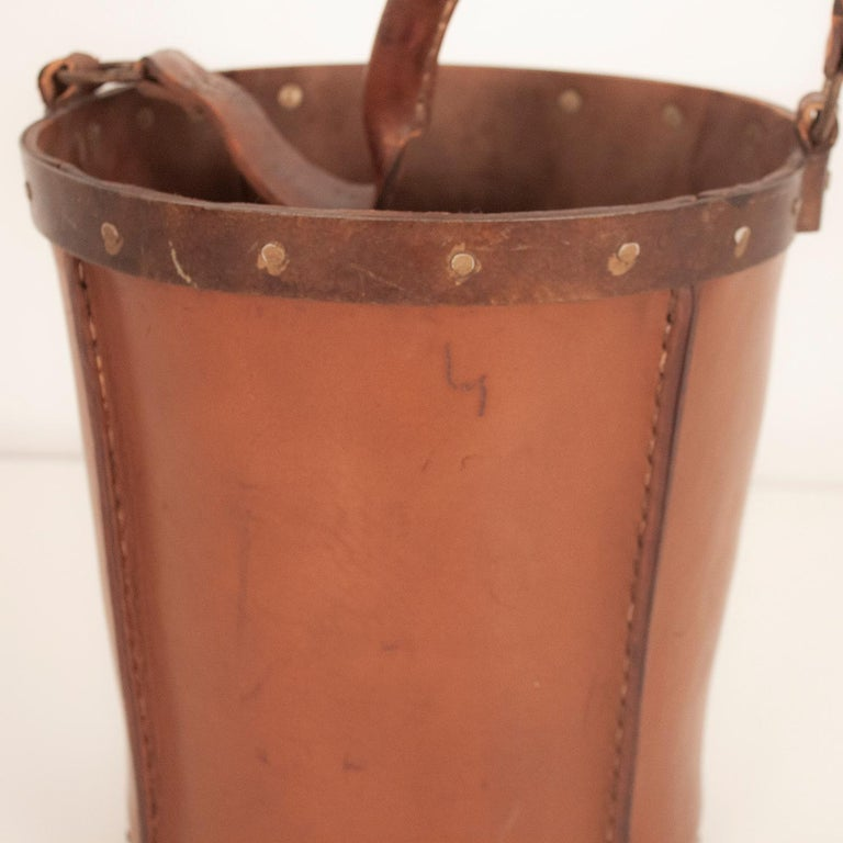 Late 20th Century Vintage Brown Leather Waste Basket, Valenti, Spain, 1970s For Sale