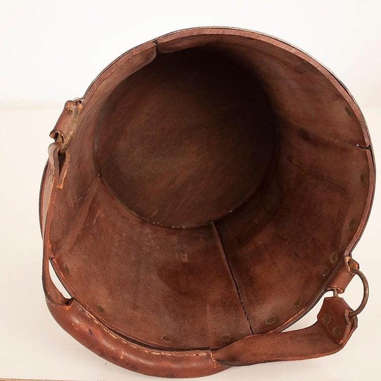 Vintage Brown Leather Waste Basket, Valenti, Spain, 1970s For Sale 3