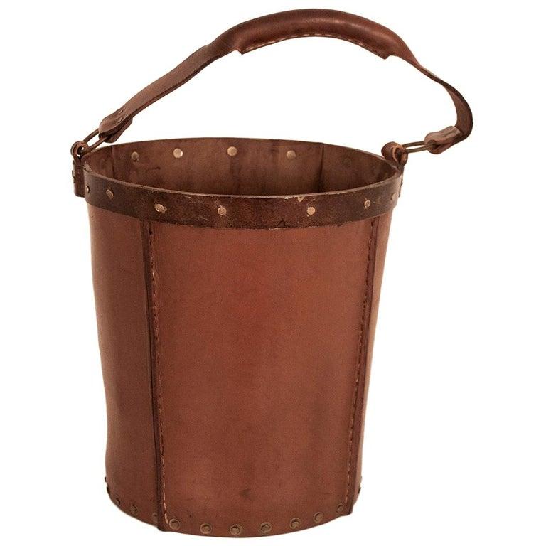 Vintage Brown Leather Waste Basket, Valenti, Spain, 1970s For Sale