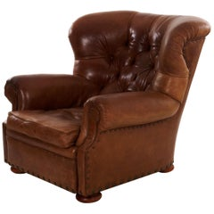 """Vintage Brown Leather """"Writer's"""" Wingback Arm Chair by Ralph Lauren"""