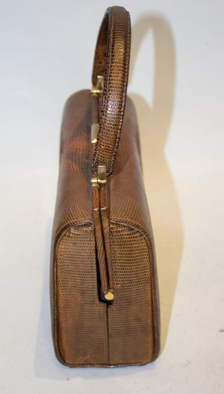 Vintage Brown Lizzard Bag In Good Condition For Sale In London, GB