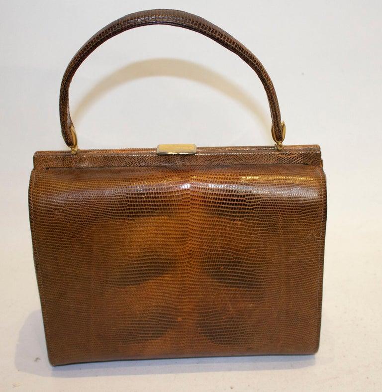 Women's Vintage Brown Lizzard Bag For Sale